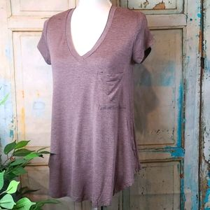 H BY BORDEAUX V NECK TEE